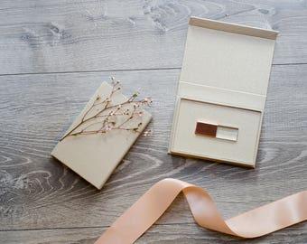 Crystal Glass USB with Cream Linen USB Box