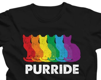 Funny Gay Pride Cat T-Shirt - LGBT Purride Shirt - Gay Rights Tee - Rainbow Cat Lover Gift - Colorful Cat Tshirt - Queer Pride Parade