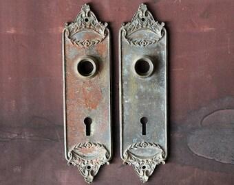 set of antique cast brass door plate escutcheons / vintage Fairfield brass door plates with floral leaf design and patina