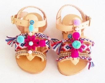 Girls Pom Pom Sandals ''Sugar Cherry'' |  kids Shoes | Kids Bohemian Sandals | Baby Boho Sandals