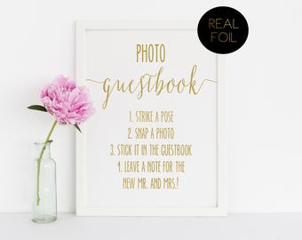Photo Booth Guest Book, Foiled Wedding Prints, Polaroid Guestbook, Gold Foil Wedding, Wedding Signs, Gold Wedding Sign, Guestbook Sign, Gold