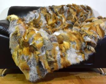 Genuine Natural Fur Fox Throw Blanket