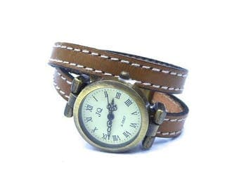 Watch leather taupe stitching wrist twice and u clasp