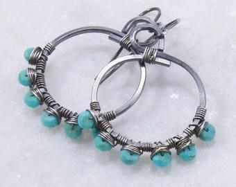 Turquoise Hoop Earrings, Oxidized Sterling Silver, Hoop Earrings, Wire Wrapped, Free Shipping