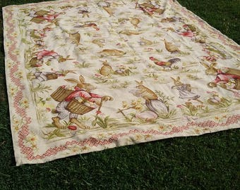 1950 French Needelepoint 8 x 10 Rug Bunnies Eggs