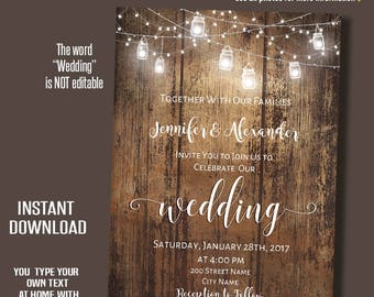 Wedding Invitation, Printable Rustic Wedding Template, Barn wedding Templates, Instant Download Self-Editable PDF A241