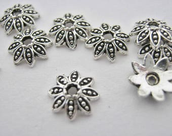 50 Flower Bead Caps 6mm 14 Antique Silver Gold Rose