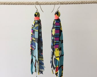 Long Tassel Upcycled Earrings Layla