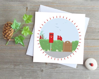 UK red post box greeting card vintage post box England post box country scene London post box card snail mail stay in touch village post box