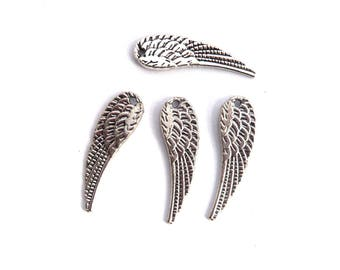 set of 4 silver wing charm 30mm