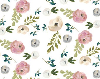 Baby Leggings Floral Gray Organic, Girl Floral Baby Pants, Flower Leggings, Toddler Pants, Newborn Pants Neutral