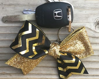 Black and Gold Glitter Bow Keychain