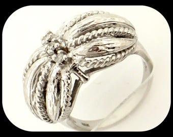 Estate Designer TAL Textured 14K White Gold 3 Stone Diamond Unusual Dome RING Size 6.25