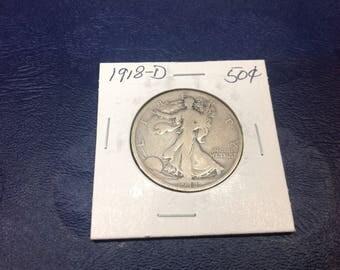 1918- D Standing library  Half dollar
