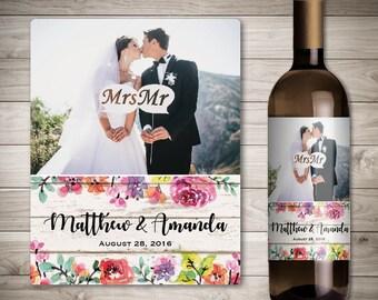 Photo Wedding Wine Label - Custom Wine Label - Personalized Wine Label - Wedding Wine Bottle Label - Rustic Wedding Decor - Barn Wedding