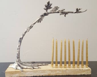Tree of Life Hanukkah Menorah