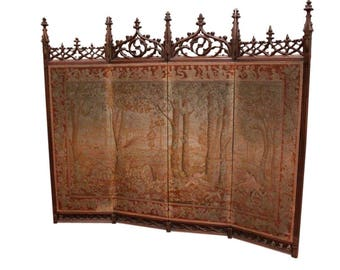 RARE Antique French Gothic Folding  Screen BEAUTIFUL Needlepoint Tapestry Walnut 19th Century #7116