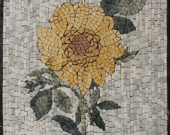 Yellow Flower Square Wall Accent Handmade Marble Mosaic FL2524