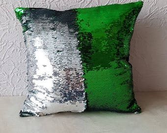 Magic sequin mermaid  reversible two tone glitter home car sofa cushion or cover, only cover