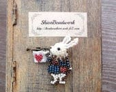 Free shipping - Alice in Wonderland - Rabbit brooch 1- made with beads motif