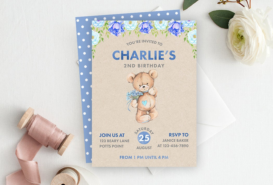 Blue Bear Birthday Invitation, Bear Invitation, Bear Birthday, First ...