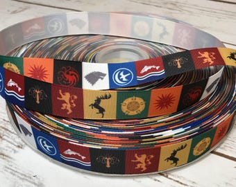 Lot of 20 Yards Game of Thrones Ribbon, Themed Ribbon, Grosgrain Ribbon, TV Show Ribbon, Game of Thrones