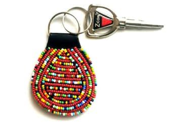 Red mixed bead keychain, red keychain, keychain, pocket keyholder