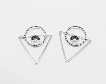 P0687/Anti-Tarnished Rhodium Plating over Brass/Triangle Circle Pendant Connector/15.5x18mm/4pcs
