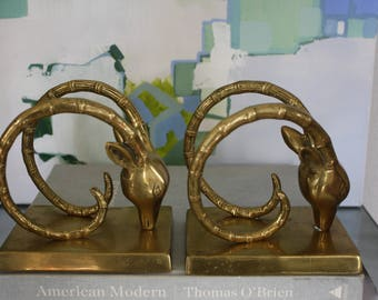 Pair of Vintage Solid Brass Ibex / Gazelle Bookends