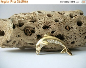 ON SALE Vintage Gold Tone Playful Dolphin Clear Sparkling Inlay Rhinestones Pin 5917