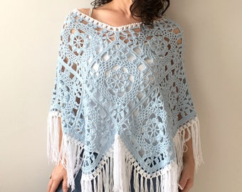 Summer poncho, cotton poncho, blue poncho, fringed poncho, boho poncho, granny square poncho, gift for her, fast shipping, ready to ship