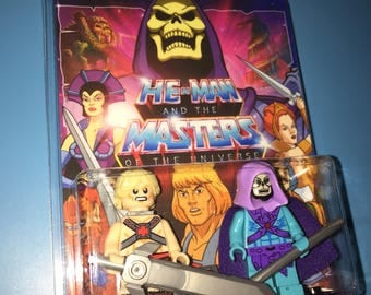 HE-MAN vs SKELETOR Masters of the Universe Custom Cartoon 2 pack Series Minifigures