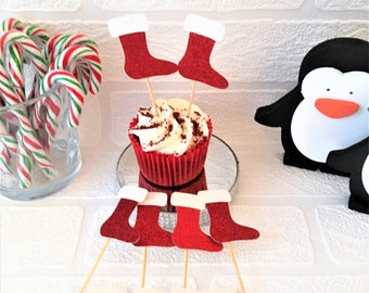 Christmas Stocking Cupcake Toppers, Set of 10, Christmas Party Picks, Festive Toppers, Food Tops, Xmas Party Decorations, Glitter Picks