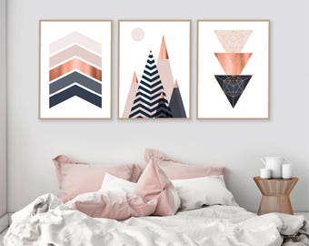 Set of 3, Printable, Downloadable Print Set, Scandinavian Prints, Mountains, Geometric, Wall Art, Bedroom Decor,  Poster, Copper, Pink, Navy