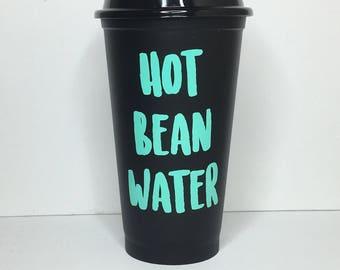 Travel Coffee mug | Hot bean Water | Black Coffee Mug | Travel Mug | TO-GO Coffee Mug | Coffee Mug | Funny Coffee Mug | Funny Travel Mug