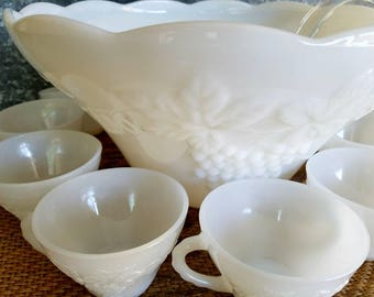 Milk Glass Punch Bowl Set, Anchor Hocking Harvest Grape With 12 Cups And Ladle, Mid Century