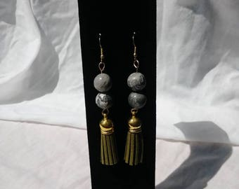 Gemstone bead and tassel earrings