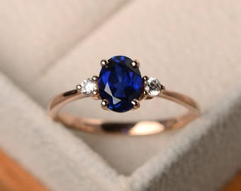 Sapphire ring , blue gemstone ring, wedding ring, oval cut sapphire ring, September birthstone, 14k rose gold