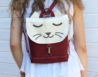 Xtra Mini Burgundy Waterproof Backpack, Vegan Cat Rucksack, Waterproof Backpack, Mini Crossbody Bag, Toddler Backpack, Festival Bag