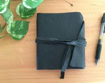 Premium Leather Journal/Sketchbook Navy Blue with Raw Edges Hand torn pages