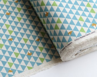 1/2 yard Kokka Blue Triangle Bears | Cotton Blend Canvas | Japanese Import | 39100-101C Blue on Natural