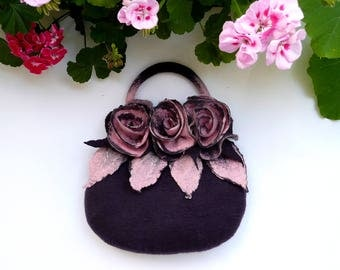 Felt bag, Felted bag, felted handbag, Felt Bags, Purple Bag, Felt Purse, unique flower bag handbag   wet felted bag boho roses, Felt Bag