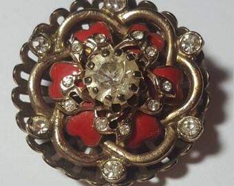 ON SALE : Vintage Rhinestone Red Enamel Pendant