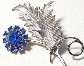 Vintage Royal Blue Rhinestone Pin Brooch Silvertone