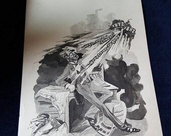 WOW SALE : 1882 Political Cartoon Crawford paper Vintage