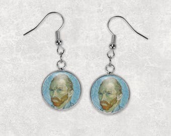 Vincent Van Gogh, 12mm Dangle Earrings, Fine Art Jewelry, Starry Night, Drop Earrings, Fish Hook Earrings