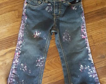 Hand Painted Jeans Children's Place Toddler Girls Size 3T OOAK