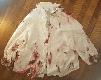 Hand Painted Gory Zombie Button Down White Shirt Costume Walking Dead Size Medium OOAK