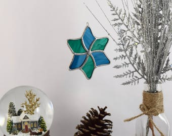 Star Ornament, Gift for Mom, Glass Star, Star Sun Catcher, Glass Star Decoration Candy Cane Star Glass Keepsake Ornament Made In USA