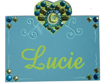 Customizable child Princess LUCIE TURQUOISE door
